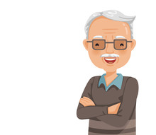 Elderly Man Smiling. Old Man's Face With Glasses Are Laughing Happily And Cross One's Arm. Feeling Happy Of Granddaddy. Vector Illustration Isolated White Background.