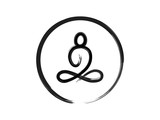 Buddha sitting zen brush stroke painting in circle isolated on white background for vector design element or logo in buddhism, meditation concept Web