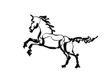 Black And White Prancing Horse By Single Line Brush Stroke Painting