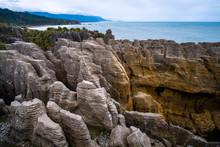 Pancake Rocks, West Coast, New Zealand. Cloudy Day.