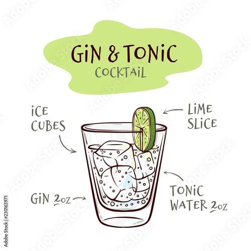 Fototapeta Vector illustration of gin and tonic cocktail recipe with proportions of ingredients in sketch style - hand drawn glass with ice cubes and alcohol drink isolated on white background. obraz