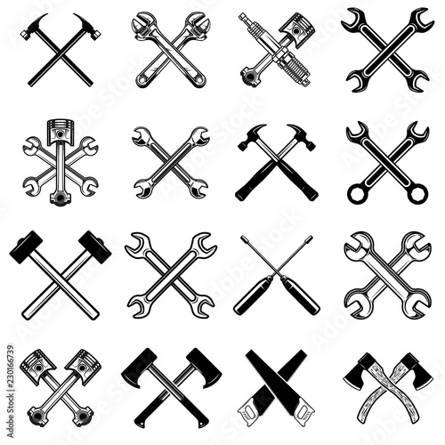 Stampa su Tela Set of crossed saws, hammers, pistons, wrench, axe