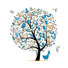 Fototapeta Tree with birds, sketch for your design