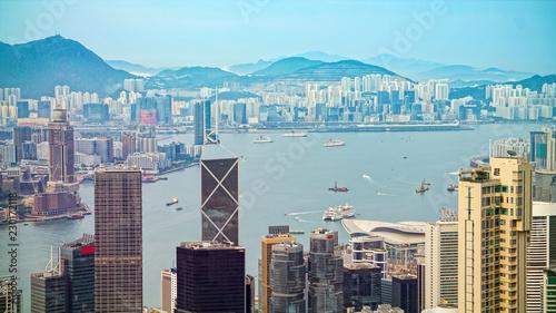 Tuinposter Aziatische Plekken Close up of Hong Kong commercial and housing building