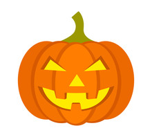 Jack-o'-lantern / Jack-o-lantern Halloween Carved Pumpkin Flat Vector Icon For Apps And Websites