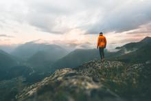 Man Adventurer On Mountain Sum...