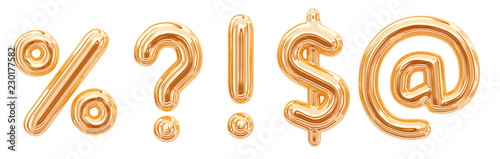 Fotografie, Obraz Gold foil alphabet symbols question mark, percentage sign, email at symbol, exclamation point, dollar sign isolated on white background