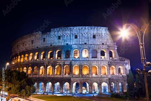 Italy. Rome. The night Collosseo Canvas Print