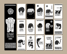 Ethnic Style Cards With Elepha...