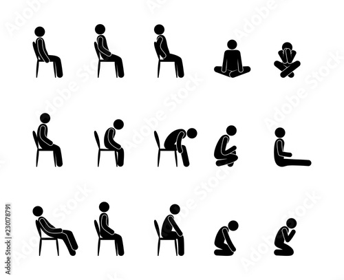Fototapeta icon man sits, a set of pictograms, various postures and body positions of seated people, stick figure human  obraz