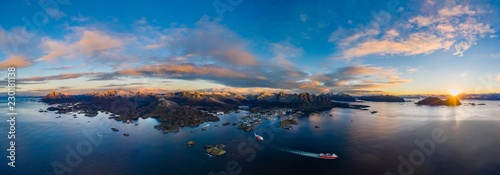 Printed kitchen splashbacks Cappuccino Aerial Sunrise over Svolvaer, Lofoten Islands, Norway