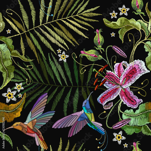 Fototapety, obrazy: Humming bird and orchid exotic tropical flowers seamless pattern. Beautiful classical embroidery tropical art. Template for clothes, embroideries, t-shirt design