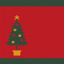 Seamless Christmas Red Knitted Pattern With Green Fir Tree.