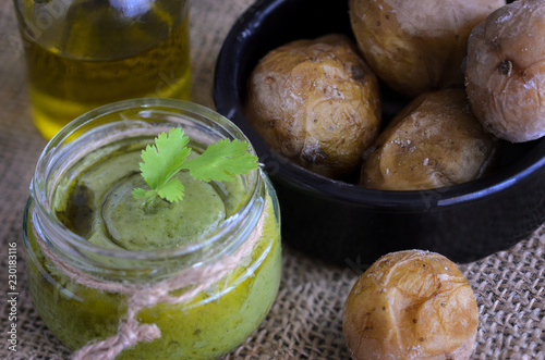 Foto op Plexiglas Canarische Eilanden Typical Canary Islands sauce, mojo verde, made of parsley, garlic, sal and the cumin, is usually eaten with meat.
