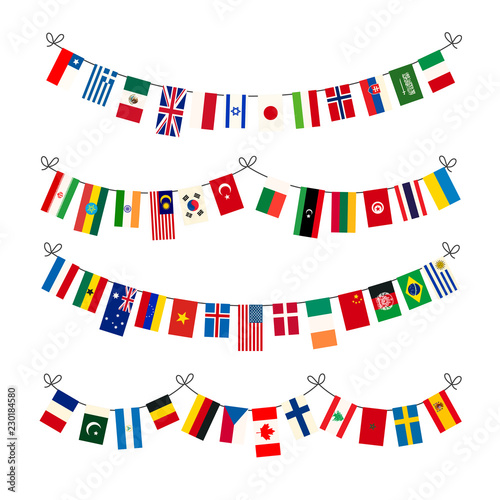 Set of different garlands with true proportions flags of world sovereign states Canvas-taulu