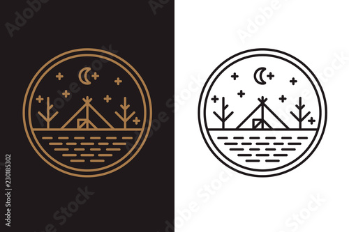 La pose en embrasure Style Boho The wigwam on the lake shore, round logo