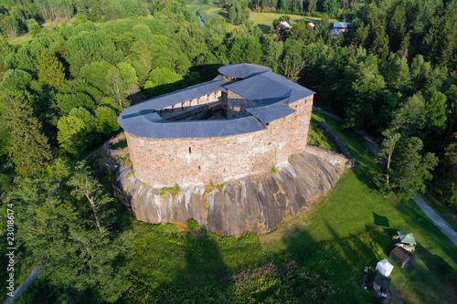 In de dag Noord Europa Medieval castle Raseborg in the summer landscape (aerial photography). Snapertuna, Finland