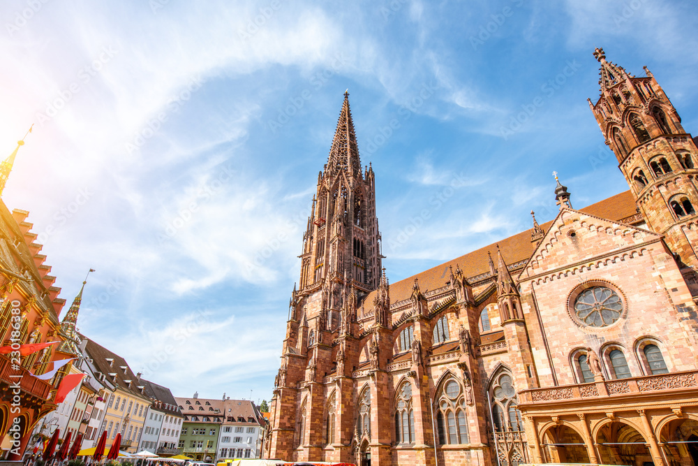 Fototapety, obrazy: View from below on the main cathedral in the old town of Freiburg, Germany