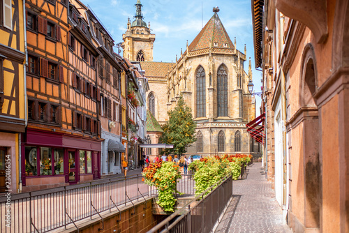 Cityscaspe view on the old town with saint Martin cathedral in Colmar, famous french town in Alsace region