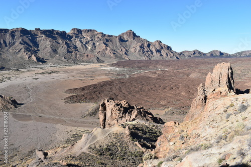 Spoed Foto op Canvas Beige Beautiful landscape with brown mountains near the big famous volcano Pico del Teide in Tenerife, Europe