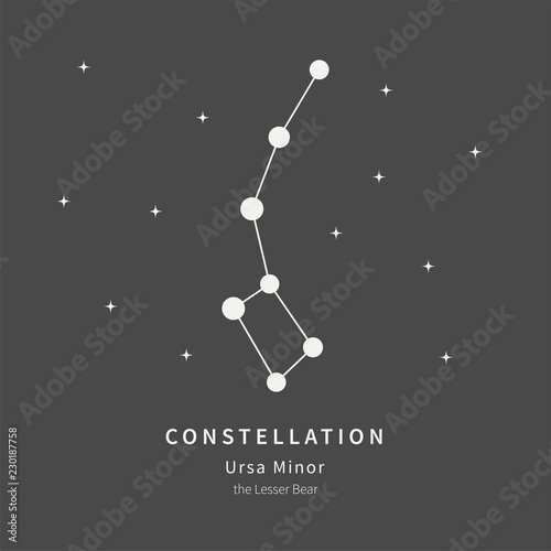 The Constellation Of Ursa Minor. The Lesser Bear - linear icon. Vector illustration of the concept of astronomy.