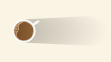 Top View Cup Of Coffee On A Light With Long Shadow Copy Space For Text For Background