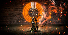 Hookah On The Background With Smoke, Neon Light, Rays, Sparks
