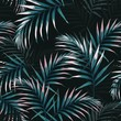 canvas print picture - Seamless tropical pattern, vivid tropic foliage, with dark and pink palm leaves. Modern bright summer print design. Vintage black background.