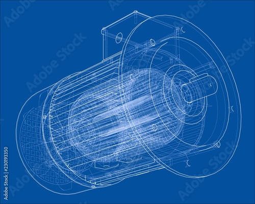 Electric motor sketch. Vector Fototapeta