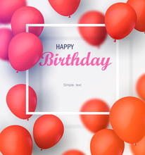 Greeting Card With Frame And Lot Of Red Balloons. Happy Birthday Vector Illustration