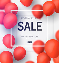 Final Sale, Special Offer With Red Balloons. Realistic Vector Design For A Shop And Sale Banners. Vector Illustration