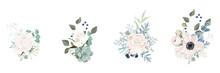 Floral Bouquet Design: Garden Pink Creamy Powder Rose Flower, Anemone Eucalyptus Branch Greenery Leaves Berry. Wedding Invite Card. Designer Element Set. White Background.