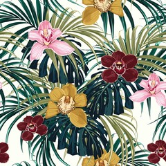 Obraz na SzkleSeamless pattern, pink burgundy yellow orchid flower and green exotic palm monster leaves on light background.