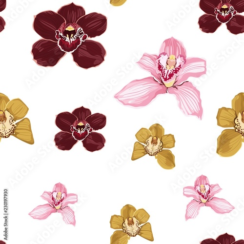 Tuinposter Vlinders Pink burgundy yellow orchid Phalaenopsis floral seamless pattern. Exotic spring summer flowers in bloom, blossom foliage bouquet on white background.
