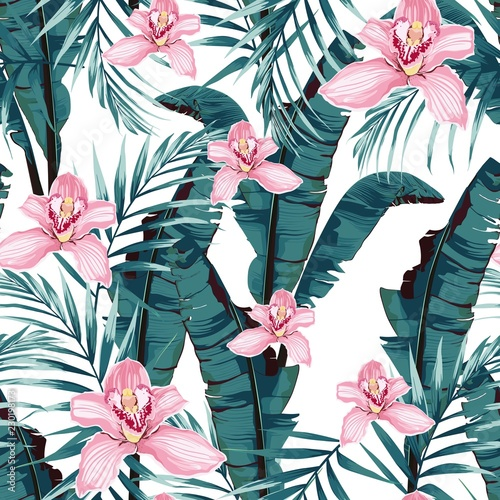 Cotton fabric Tropic summer painting seamless pattern with palm banana leaf and plants. Floral jungle pink orchid flowers. Trendy bunch exotic flower wallpaper on white background.