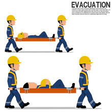 Two Workers Is Moving  The Victim On Transparent Background