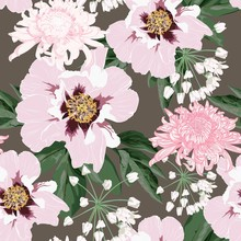 Flower Seamless Pattern With B...