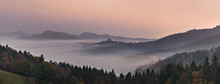 Panoramic Foggy Landscape At D...