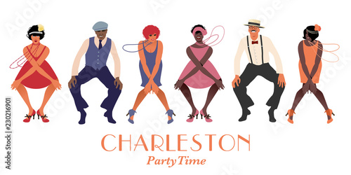 Fotografía Four flapper girls and two man wearing retro clothes dancing Charleston