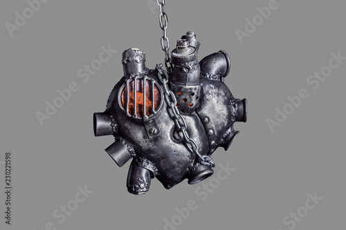 Heart of steel made in steam punk style. Canvas Print