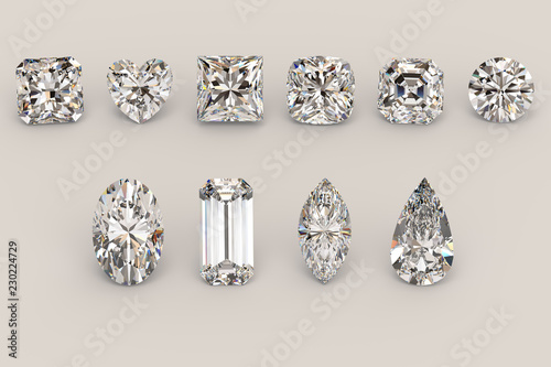 Ten the most popular diamond shapes on light gray background Fototapet