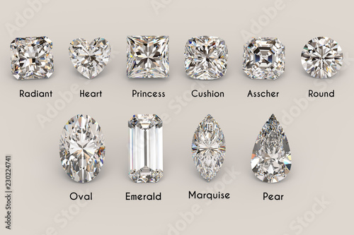 Fotografía  Ten the most popular diamond shapes with titles on light gray background