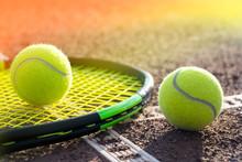 Tennis Court And Balls