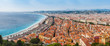 Nice, France. panoramic arial view of the English promenade, Promenade d Anglais in Nice, France on sunset