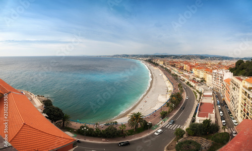 Spoed Foto op Canvas Nice panoramic arial view of the English promenade, Promenade d Anglais in Nice, France on sunset