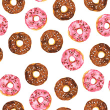 Seamless Pattern With Chocolate And Pink Doughnuts On White Background. Hand Drawn Watercolor Illustration.