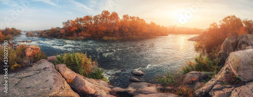 Poster de jardin Gris amazing panoramic view of blue foggy river and colorful forest on sunrise. autumn landscape
