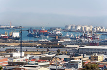 Port Of Cape Town South Africa.Shipping Alongside And Storage Tanks.