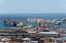 Cape Town, South Africa. An Overview Of Shipping In The Port Of Cape Town