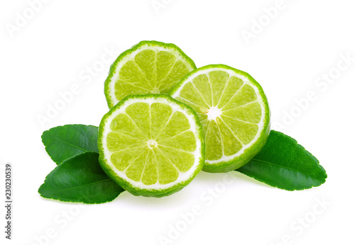 bergamot fruit with leaf isolated on white background Wallpaper Mural